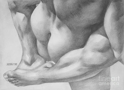 Male Nude Drawing Drawing - Original Charcoal Drawing Art Gay Interest Men  On Paper #16-3-11 by Hongtao Huang