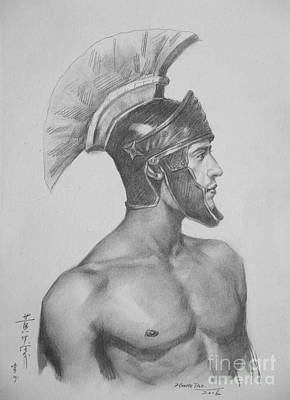 Male Nude Drawing Drawing - Original Charcoal Drawing Art Male Nude  On Paper #16-2-25 by Hongtao Huang