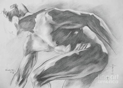 Original Charcoal Drawing Art Male Nude  On Paper #16-3-10-11 Art Print by Hongtao Huang