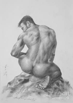 Male Nude Drawing Drawing - Original Charcoal Drawing Art Male Nude On Paper #16-3-18-04 by Hongtao Huang