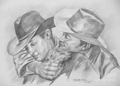 Original Charcoal Drawing Art Portrait  Of Cowboys On Paper #16-3-18-01 Art Print by Hongtao Huang