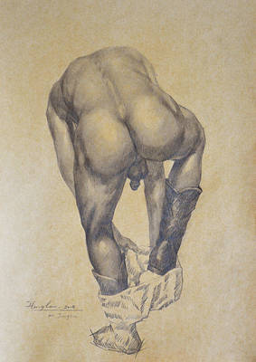 Original Charcoal Drawing Male Nude Gay Interest Man On Paper #6-30-2 Original