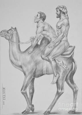 Original Charcoal Pencil Drawing Male Nude Gay Interest Man On Paper #7-1-2 Art Print by Hongtao     Huang