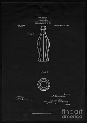 Photograph - Original Coca-cola Bottle Prototype Patent 1915 by John Stephens