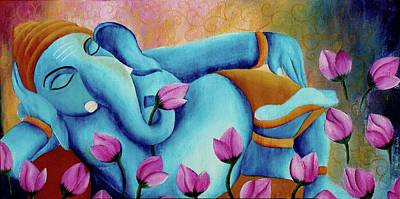 Matte Painting - Original Colorful Bold Vibrant And Textured Sleeping Ganesha With Lotus Flowers Acrylic Painting  by Mounika Narreddy