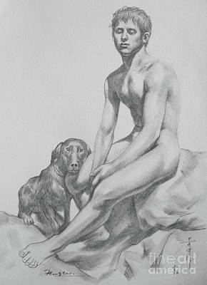 Original Drawing Boy And Dog On Paper #16-9-4 Art Print by Hongtao Huang