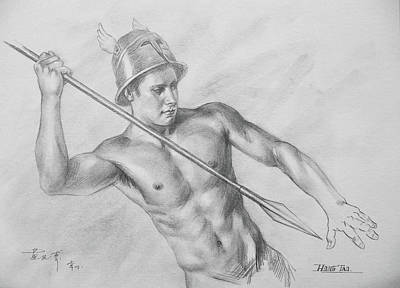Original Drawing Charcoal  Male Nude Man On Paper#16-10-5-01 Art Print by Hongtao Huang