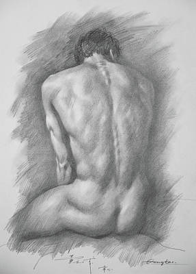 original Drawing male nude man #17325 Art Print