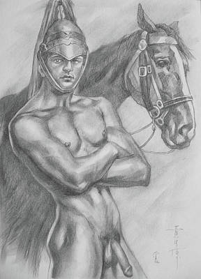 Drawing - Original Drawing Pencil Male Nude And Horse#17317 by Hongtao Huang