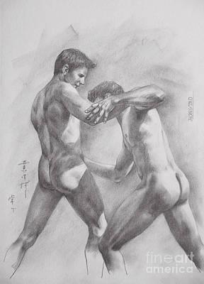 Original Drawing Sketch Art Male Nude Men Gay Interest Boy On Paper By Hongtao #11-17-05 Art Print by Hongtao     Huang