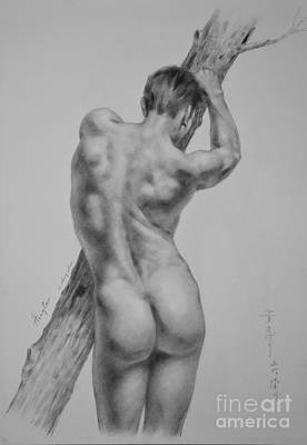 Male Nude Drawing Drawing - Original Drawing Sketch Charcoal  Gay Interest Man Art Pencil On Paper -0077 by Hongtao     Huang