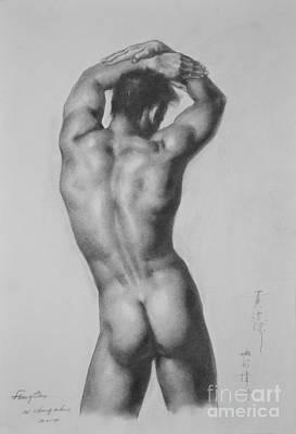 Original Drawing Sketch Charcoal Gay Interest Man Male Nude Art Pencil On Paper-0047 Art Print