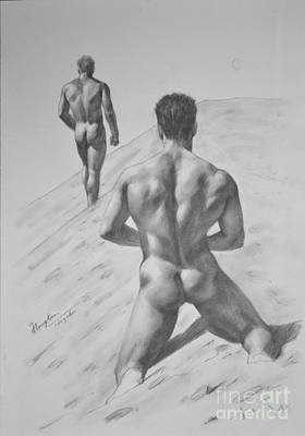 Male Nude Drawing Drawing - Original Drawing Sketch Charcoal Male Nude Gay Interest Man Art Pencil On Paper -0027 by Hongtao     Huang