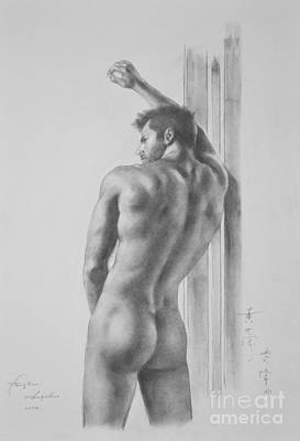 Original Drawing Sketch Charcoal Male Nude Gay Interest Man Art Pencil On Paper -0039 Art Print