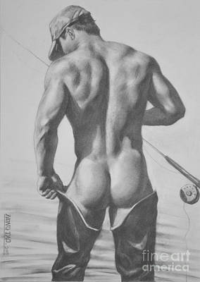 Original Drawing Sketch Charcoal  Pencil Male Nude Gay Interest Man Art Pencil On Paper -0031 Art Print