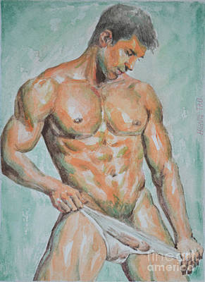 Male Nude Drawing Drawing - Original Drawing Watercolor Painting Man Body Art Male Nude On Paper-066 by Hongtao     Huang
