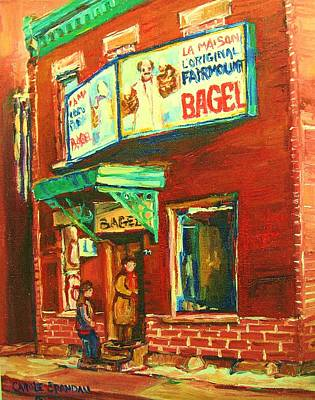 Painting - Original Fairmount Bagel by Carole Spandau