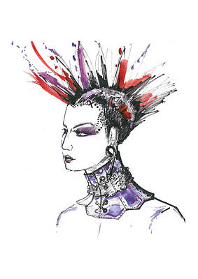 Gothic Mixed Media - Punk Rock Girl  by Marian Voicu