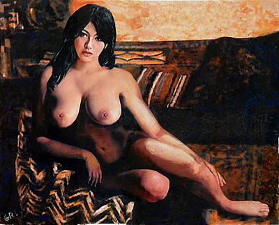 Painting - Original Female Nude Goddess Eirene II Seated by G Linsenmayer