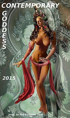 Painting - Original Female Nude Jean Goddess As Tara Dancing Poster by G Linsenmayer