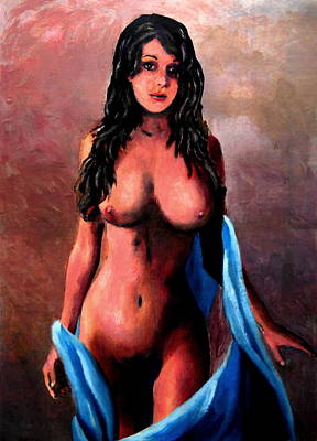 Painting - Original Fine Art Female Nude Jean Standing In Blue by G Linsenmayer