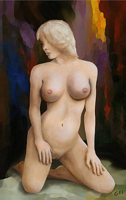 Painting - Original Fine Art Female Nude Kneeling Multimedia Painting by G Linsenmayer