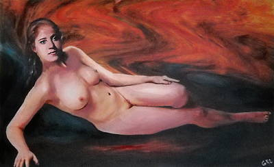 Painting - Original Fine Art Female Nude Reclining Background Swirls Of Orange by G Linsenmayer