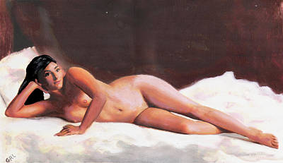 Painting - Original Fine Art Female Nude Reclining On White by G Linsenmayer