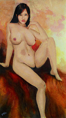 Painting - Original Fine Art Female Nude Sitting Yellow Red Background Multimedia Painting by G Linsenmayer