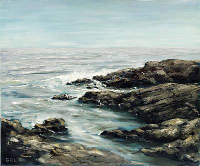 Painting - Original Fine Art Painting Bass Rocks Massachusetts by G Linsenmayer