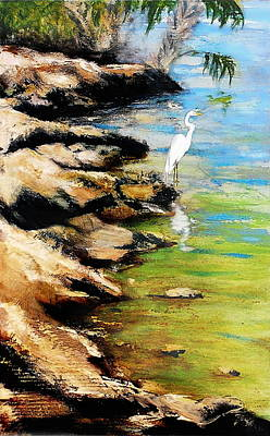 Painting - Original Fine Art Painting Pool Edge Gulf Coast Florida by G Linsenmayer