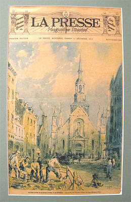 Old Montreal Drawing - Original French Advertisement Poster, La Presse 11 December 1937 - Notre Dame De Bonsecours by Charles Tulley