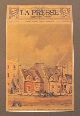 Old Montreal Drawing - Original French Advertisement Poster, La Presse 15 January 1938 - La Vieille Rue St-benoit by Charles Tulley