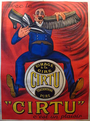 Original French Art Deco Oversized Shoe Poster Cirage Cirtu Original by Unknown