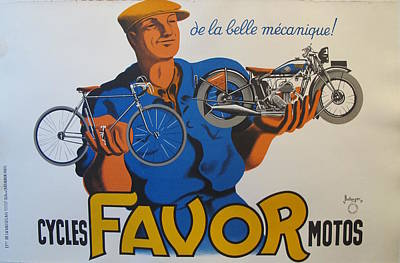 Original French Horizontal Poster For Cycles Favor Motos Original by Jacques Bellenger and Pierre Bellenger