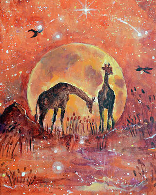 Original Giraffe Painting - Something About The Way You Move Thrills Me To The Moon And Back  Original by Ashleigh Dyan Bayer