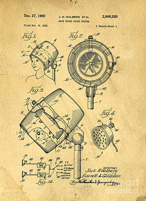 1960 Drawing - Original Hair Dryer Patent by Edward Fielding
