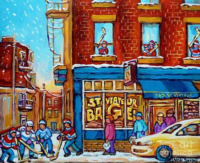 City Life Painting - Original Hockey Art St Viateur Bagel Paintings For Sale Street Hockey In The Laneway Canadian Winter by Carole Spandau