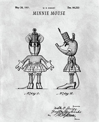 Drawing - Original Minnie Mouse Patent by Dan Sproul