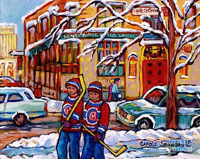 Painting - Original Montreal Art For Sale Birks Jewellery Downtown  Montreal Winterscene Painting C Spandau Art by Carole Spandau
