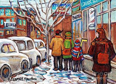 Painting - Original Montreal Art Work For Sale Winter Stroll Paintings Rue St Viateur Canadian Artist C Spandau by Carole Spandau