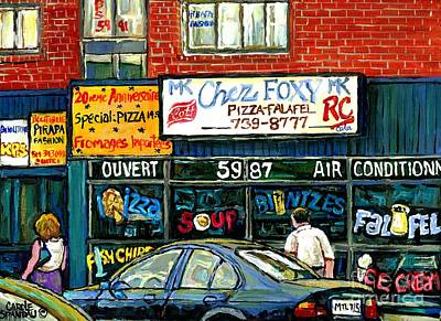 Montreal Chips Painting - Original Montreal Paintings For Sale The Jewish Street Van Horne And Victoria Chez Foxy Kosher Deli by Carole Spandau