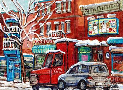 Painting - Original Montreal Winter Streetscene Paintings For Sale Fairmount Bagel To Wilensky C Spandau Artist by Carole Spandau