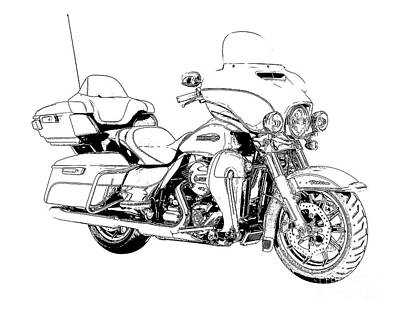 Dibujo Drawing - Original Motorcycle Portrait, Gift For Biker, Black And White Art by Pablo Franchi