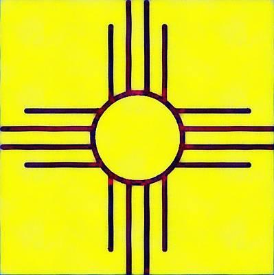 Photograph - Original New Mexico Zia Flag by Joseph Frank Baraba