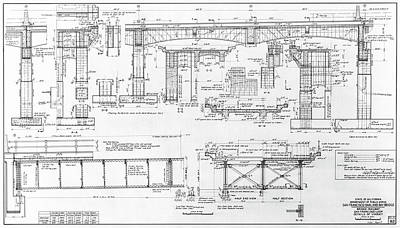 Photograph - Original Oakland Bay Bridge Engineering Drawing 1935 by Daniel Hagerman