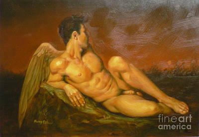 Original Oil Painting Art  Male Nude Of Angel Man On Canvas #11-16-01 Art Print