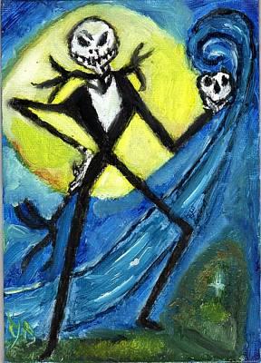 Jack Skellington Painting - Original Oil Painting Jack Skellington by Gaby Veganmaniac
