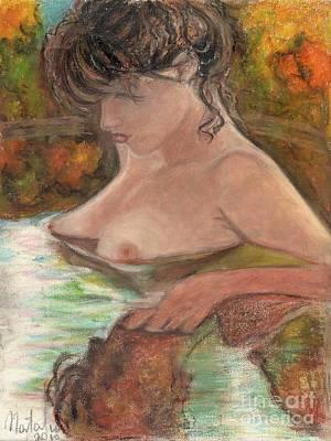 Original Oil Pastel Beautiful Girl  Art Print by Natalia Krestianinova