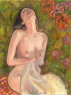Original Oil Pastel Nude Woman Art Print by Natalia Krestianinova